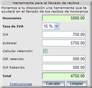 ISR por honorarios :: Descripción de pantallas :: Calculadora para el ...